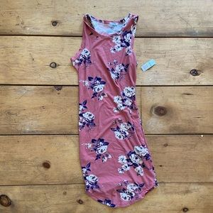 Dusty pale rose floral bodycon dress